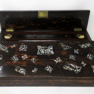 Antique Coromandel Mother of Pearl Victorian Writing Slope Box Box Antique Boxes
