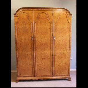 Antique Quality Burr Walnut Triple Wardrobe Antique, Antique Wardrobes