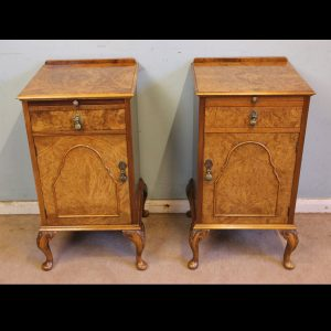 Antique Quality Pair of Burr Walnut Bedside Cabinets