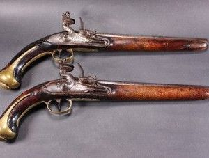 SOLD Pair of mid 18th Century Continental Flintlock Holster Pistols Antique Antique Collectibles