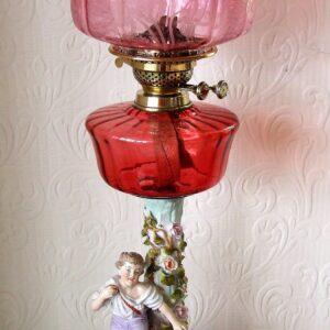 Cranberry Dresden Lamp