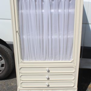 1940s Elegant Small White Cabinet with Drawers and Shelves. Antique Antique Cabinets