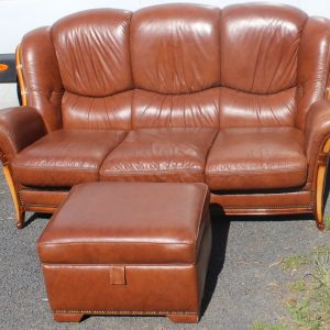 1960s 3 Seater Brown Leather Sofa and Pouffe Antique Antique Sofas