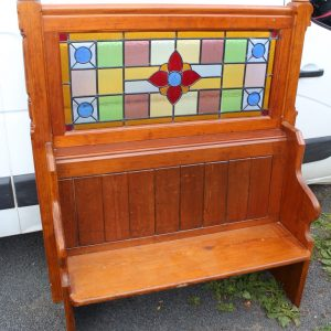 1900's Pitch Pine Pew with Stained Glass Back Antique Antique Benches