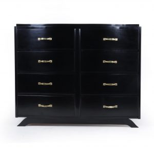 Art Deco Commode Chest of Drawers in Black Ebonised Lacquer Antique Chests