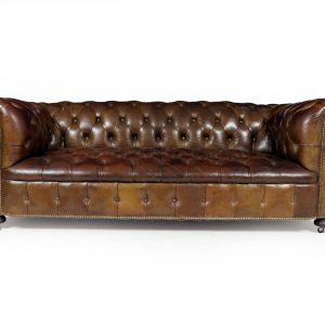 English Leather Chesterfield with Buttoned Seat Antique Sofas