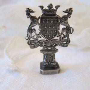 """c.1899 Antique French Coat of Arms Seal """"J G"""" Fluer De lis Antique Collectibles"""