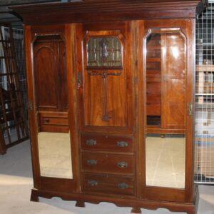 Large Art Nouveaux Mahogany Compactum Wardrobe Antique Antique Wardrobes