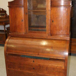 1900's Oak Cylinder Desk with Inlay and Display Top Antique Antique Desks