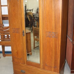 1940's Mirrored 1 Door Oak Wardrobe with large Drawer. Antique Antique Wardrobes