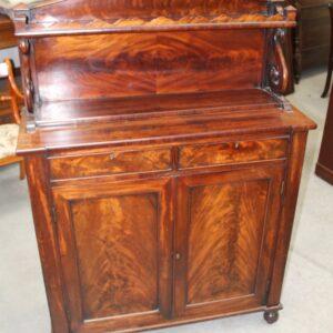 1820's Regency 2 Door Mahogany Chiffonier with Back Antique Antique Sideboards