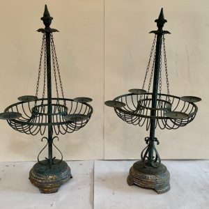 A Pair Scandinavian Metal Four Candle Candelabra Architectural Antiques