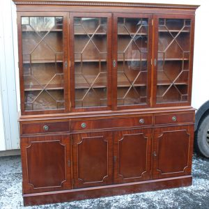 1960s Large 4 Door Mahogany Bookcase with Glazed Top Antique Antique Bookcases