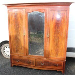 1920s Mahogany 3 Door Mirrored Wardrobe with Inlay Antique Antique Wardrobes