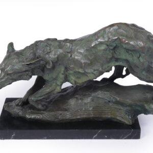 Mid Century Bronze Studio Sculpture of Wolf Antique Sculptures