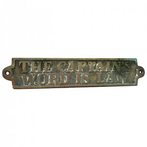 """Marine Brass """"The Captain's Word is Law"""" Boat Yacht Cabin Plaque boat Architectural Antiques"""