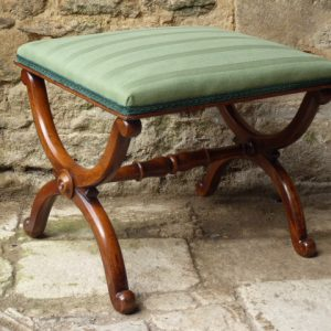 Walnut X-frame stool cirac 1840 stool Antique Stools