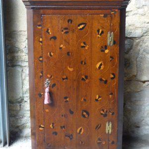Rare oak inlaid corner cupboard – mid 18th century corner cupboard Antique Cupboards