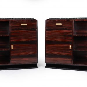Pair of French Art Deco Macassar Ebony Cabinets Antique Cupboards