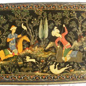 SOLD: Beautiful Persian lacquer hunting scene panel / book cover c1890 Shiraz school revival Lacquer Antique Boxes