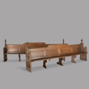 A Fabulous Pair of 19th Century English Oak Pews Antique Antique Benches