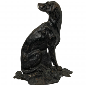 Fine English Victorian Seated Hound Dog Cast Iron Door Stop black Architectural Antiques
