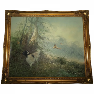 """20th Century Oil Painting """"Hunting Setter Dog & Pheasants In Flight"""" By Leiford animal Antique Art"""