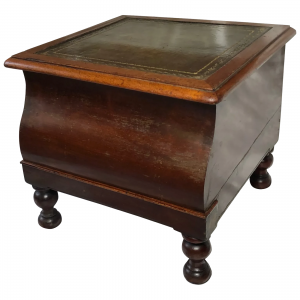 Regency Library Single Step Green Leather Top Stand cuban mahogany Antique Furniture