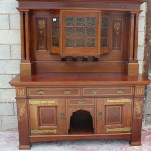 Arts and Craft Mahogany Sideboard with Mirror Back and Quality Brass Handles Antique Antique Dressers