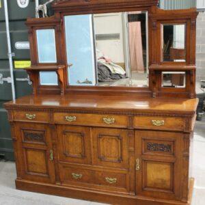 1910's Good Large Carved Oak Sideboard with Mirror Back Antique Antique Dressers