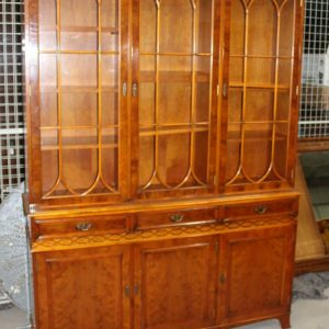 1960s Large 3 Door Yew Wood Bookcase with Glazed Top Antique Antique Bookcases