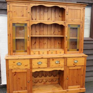1940's Large Pine Original Dresser with Rack , Spice Drawers and Cupboards. Antique Antique Dressers