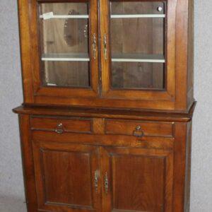 1900's 2 Door Chestnut bookcase with Glazed Top Antique Antique Bookcases