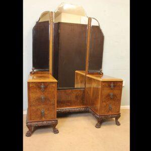 Superb Antique Burr Walnut Triple Mirror Dressing Table.