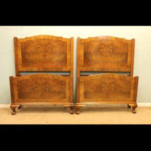 Pair Antique Figured Walnut Single Beds