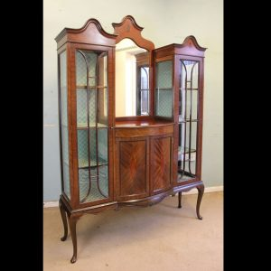 Antique Quality Shaped Mahogany Mirror Back Display Cabinet