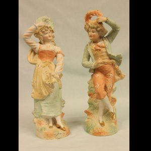 Antique Pair of Bisque Figurines of Lady & Gentleman