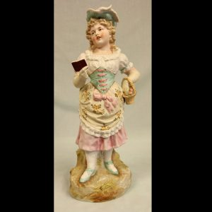 Antique Large Bisque Figurine of Young Girl.