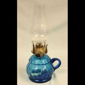 Antique Blue Glass Finger / Hand Oil Lamp