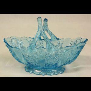 Antique Blue Glass Davidsons Basket