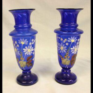 Antique Pair Bristol Blue Glass Shaped Decorated Vases