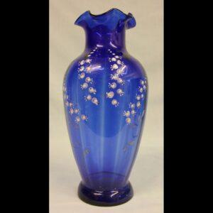 Large Late Victorian Bristol Blue Glass Vase.