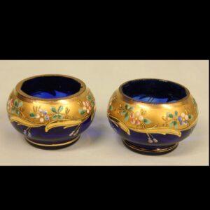 Antique Pair of Bristol Blue Decorated Salts