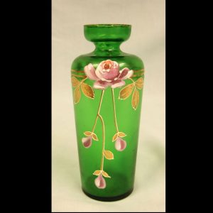 Antique Green Glass Decorated Vase