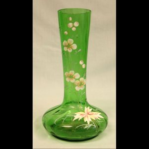 Antique Decorated Green Glass Shaped Vase