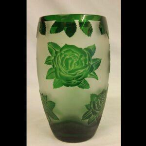 Green Glass Cameo Vase.