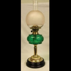 Antique Victorian Green Glass Oil Lamp & Shade