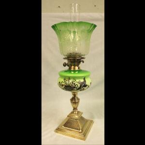 Antique Victorian Green Glass Oil Lamp & Original Frilled Green Shade