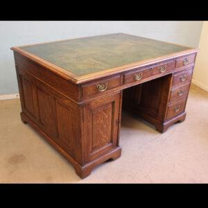 Antique Oak Partners Writing Desk