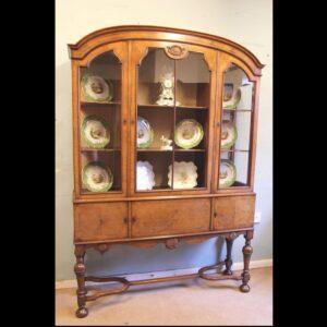 Quality Antique Walnut Display Cabinet